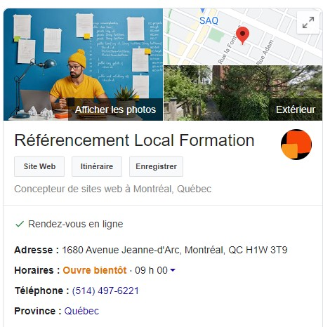 Google My Business - Voici notre fiche commerciale